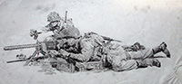 Machine Gunners Vignette - Pencil Sketch