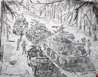 Bastogne Relief - Pencil Sketch